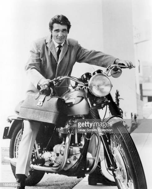 American actor James Brolin astride a motorcycle as Dr Steven Kiley in the US television drama 'Marcus Welby MD' 1969