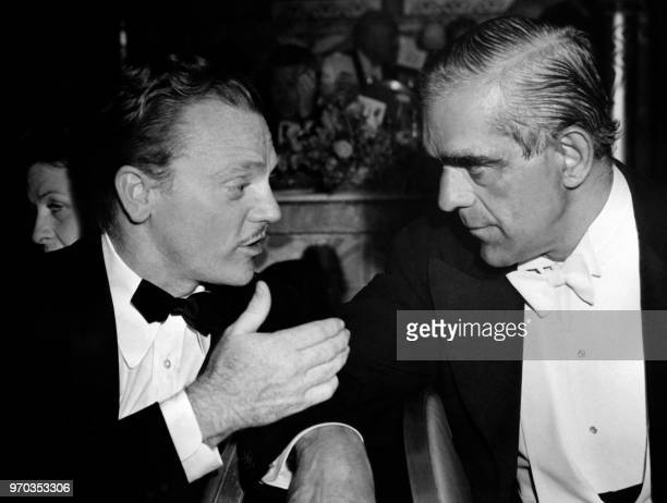 American actor James Cagney and English actor Boris Karloff talk during the first Gambol of Stars sponsored by the Guild on March 14 1940 in Los...