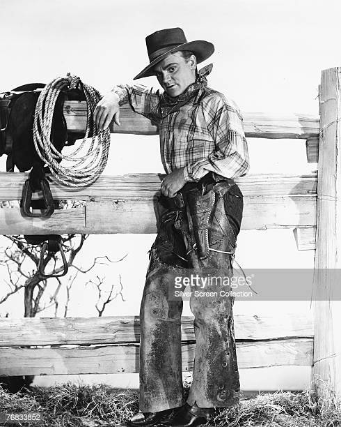 American actor James Cagney dressed as a cowboy, circa 1940.