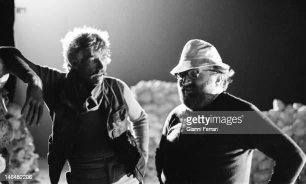 American actor James Coburn and Italian film director Sergio Leone on a break from filming the movie 'Do you Suker' Almeria Spain