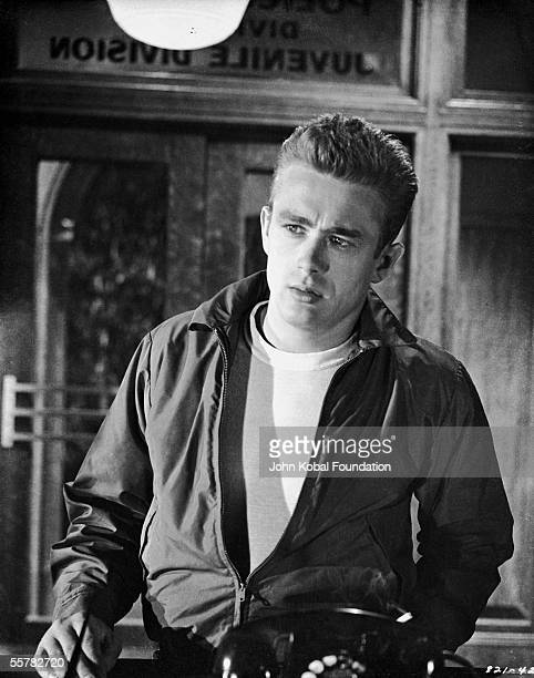 American actor James Dean enters the Juvenile Division of the police station in a scene from Nicholas Ray's film 'Rebel Without a Cause' 1955