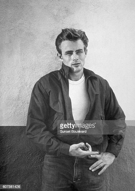 American actor James Dean on the set of Rebel Without a Cause directed by Nicholas Ray
