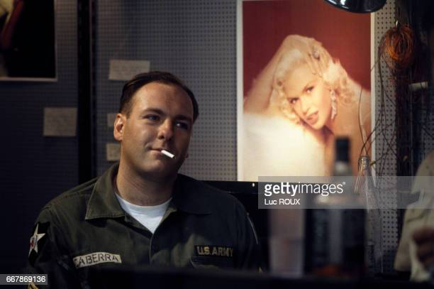 American actor James Gandolfini on the set of Le Nouveau Monde directed by Alain Corneau