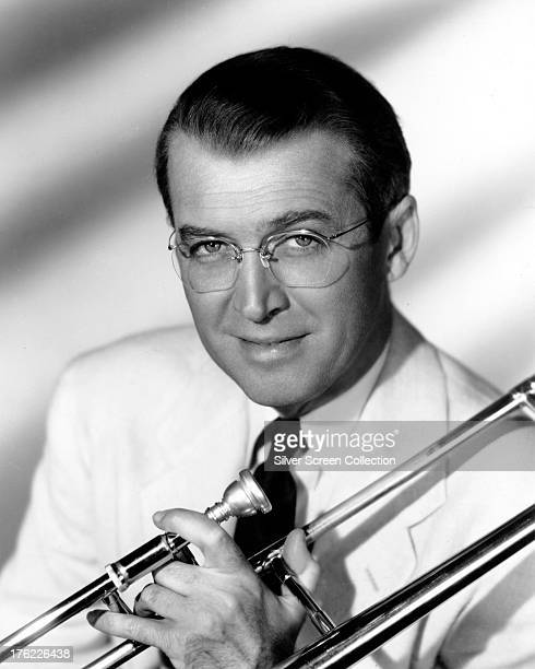 American actor James Stewart as Glenn Miller in a promotional portrait for 'The Glenn Miller Story' directed by Anthony Mann 1954