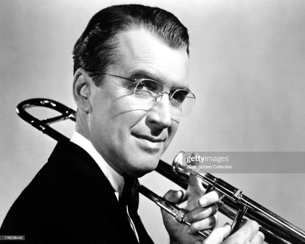 American actor James Stewart (1908 - 1997) as Glenn Miller in a promotional portrait for 'The Glenn Miller Story', directed by Anthony Mann, 1954.