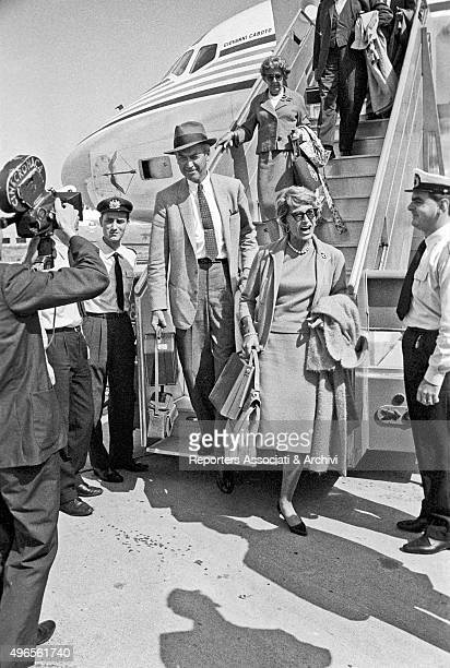 American actor James Stewart getting off the aircraft just landed at Fiumicino Airport with his wife and former American model Gloria Hatrick McLean...