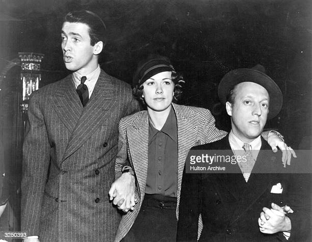 American actor James Stewart with Eleanor Powell and Sid Silvers at Hollywood Hotel Broadcast 'Born to Dance'