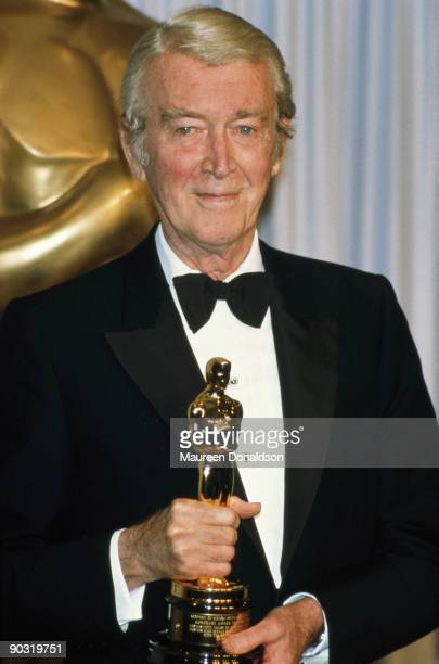 American actor James Stewart with his Honorary Award for his 'fifty years of memorable performances, for his high ideals both on and off the screen'...