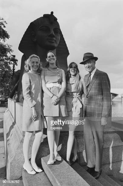American actor James Stewart with his wife actress and model Gloria Hatrick McLean and their daughters Judy and Kelly sightseeing in London UK 24th...