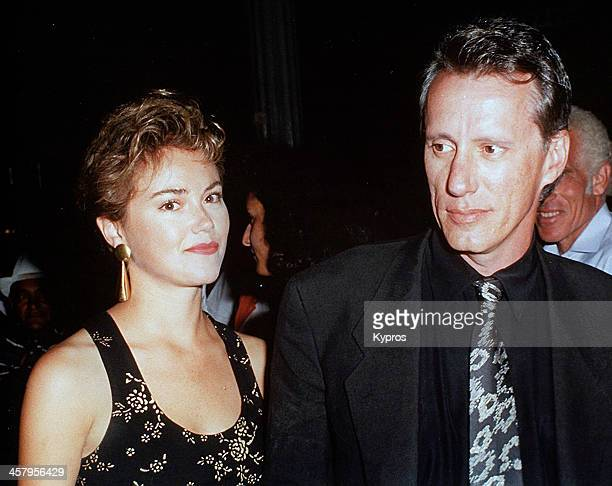 American actor James Woods and his girlfriend Julie Tesh circa 1991