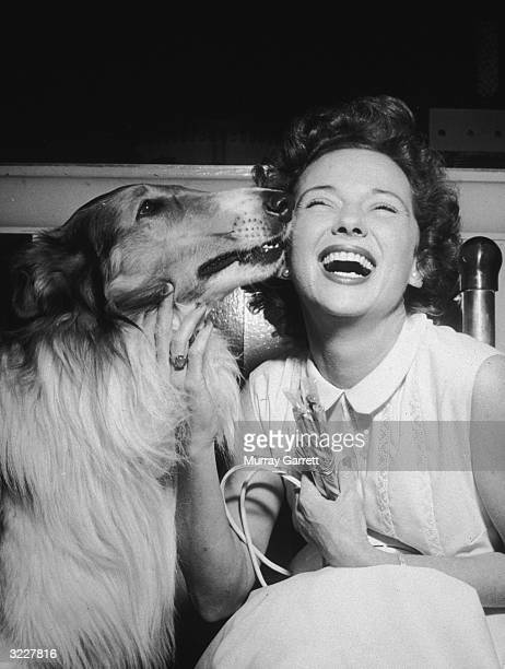American actor Jan Clayton receives a kiss from her canine costar from the television series 'Lassie' at Lassie's fourth birthday party which she...