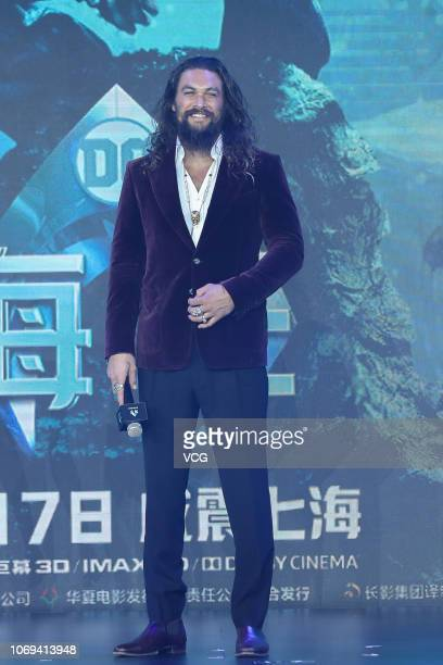 American actor Jason Momoa attends the premiere of director James Wan's film 'Aquaman' on November 18 2018 in Beijing China