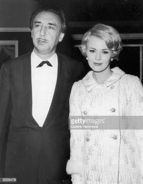American actor Jean Seberg and her husband French writer and director Romain Gary at the Hollywood Foreign Press Awards California Seberg wears a...