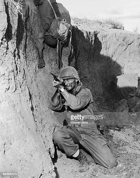 American actor Jeff Chandler as Brigadier General Frank D Merrill in a scene from the film 'Merrill's Marauders' 1962 The movie was filmed on...