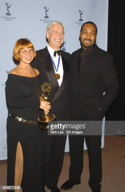 American actor Jesse L Martin presented Sonja Goslicki and Georg Feil with the TV Movie/MiniSeries Emmy for the German show 'Mein Vater Coming Home'...