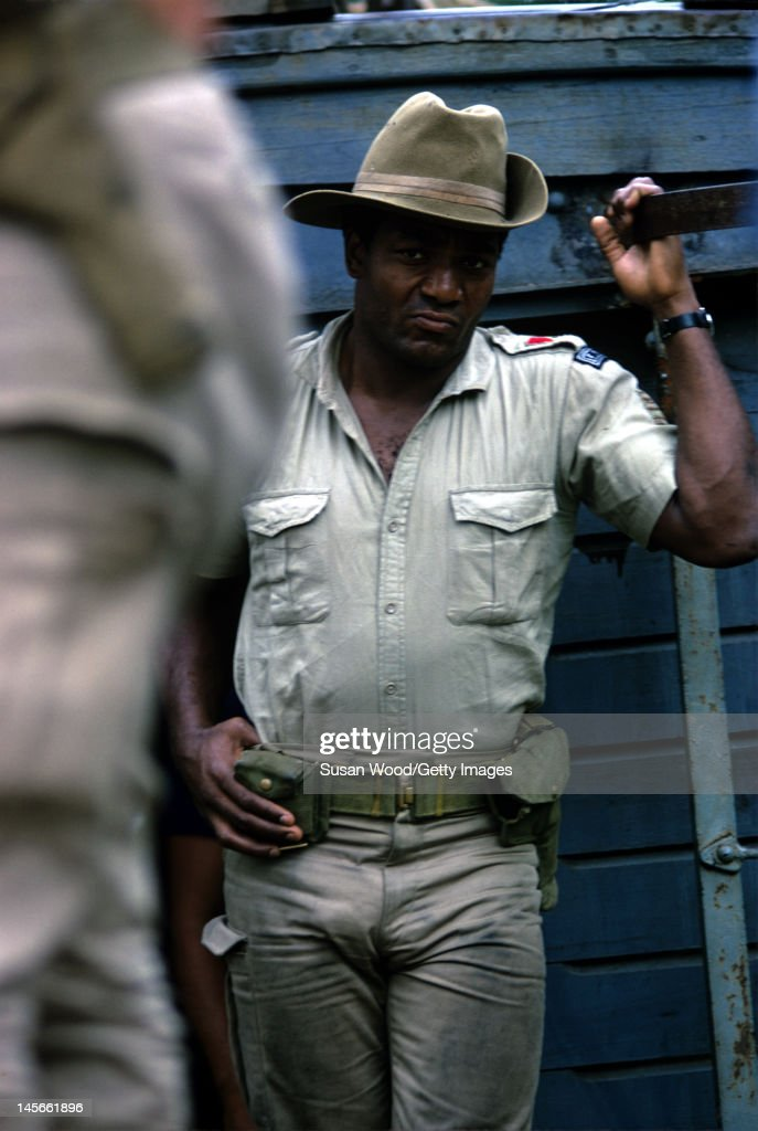 American actor (and former professional football player) Jim Brown in costume and on the set of the film 'Dark of the Sun' (aka 'The Mercenaries,' directed by Jack Cardiff), Jamaica, March 1967.