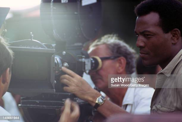 American actor Jim Brown on the set of the film 'Dark of the Sun' Jamaica March 1967