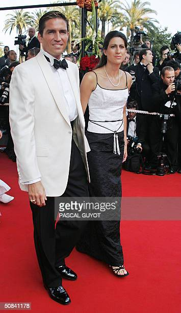 American actor Jim Caviezel and wife Kerri arrive for the official showing of 'Shrek 2' at the Cannes Film Festival in Cannes France May 15 2004 The...