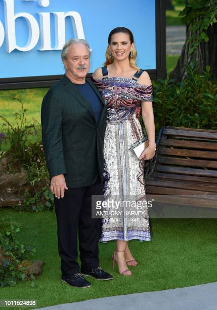 American actor Jim Cummings and British actress Hayley Atwell poses on the red carpet upon arrival for the European premiere of the film 'Christopher...