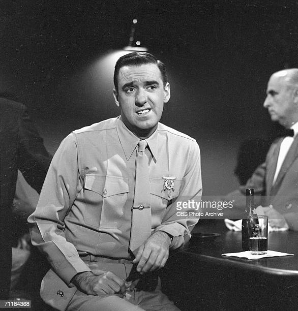 American actor Jim Nabors sits at a bar in an episode of the television comedy series 'Gomer Pyle USMC' called 'Sgt Carter Gets A 'Dear John Letter'...