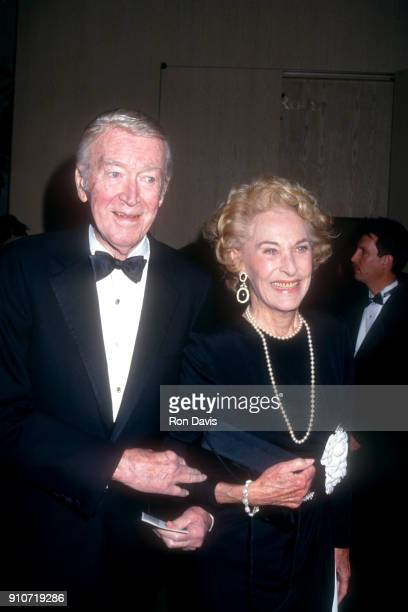 American actor Jimmy Stewart and his wife Gloria Hatrick McLean attend the American Friends of The Hebrew University's Scopus Award Honoring Aaron...