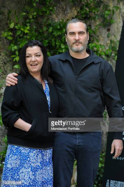 American actor Joaquin Phoenix and director Lynne Ramsay during A beautiful day movie photocall at Hotel de Russie. Rome, April 27th 2018