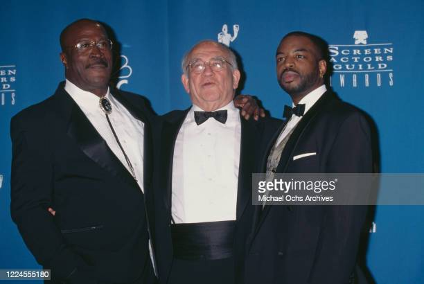 American actor John Amos American actor Ed Asner and American actor LeVar Burton attend the 3rd Annual Screen Actors Guild of America Awards held at...