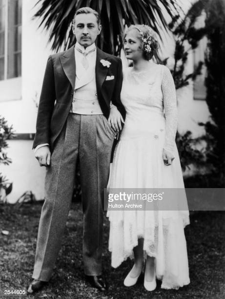 American actor John Barrymore with his wife Dolores Costello on their wedding day 24th November 1928