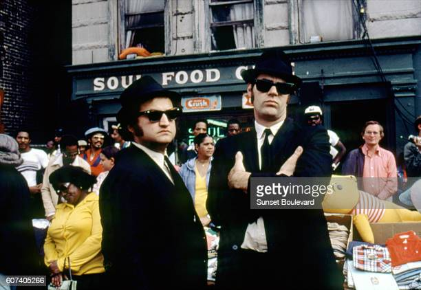 American actor John Belushi and Canadian actor and screenwriter Dan Aykroyd on the set of The Blues Brothers directed by John Landis