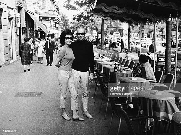American actor John Drew Barrymore and his second wife Gaby Palazzolo on a city sidewalk in the Veneto region of Italy early 1960s Barrymore was the...