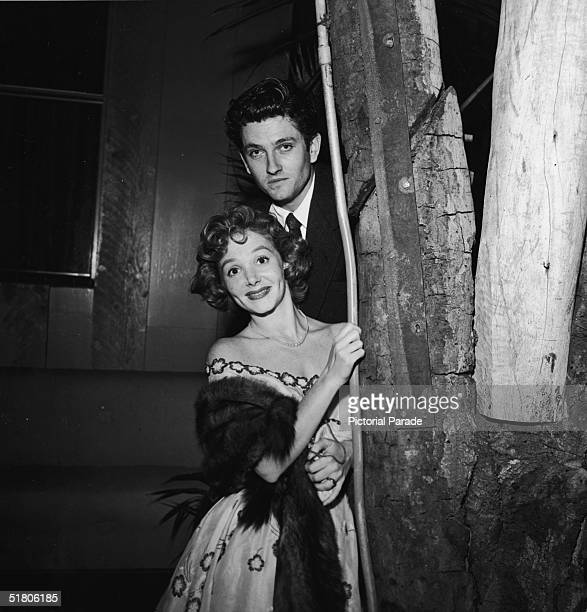 American actor John Drew Barrymore and his wife American actress Cara Williams next to the trunk of a tree early 1950s Barrymore was the son of...