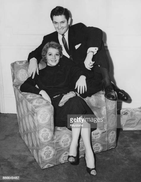 American actor John Drew Barrymore with his wife actress Cara Williams at the Savoy Hotel in London 29th April 1955