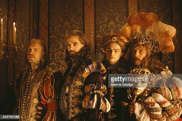 American actor John Malkovich English actor Jeremy Irons American actor Leonardo DiCaprio and French actor Gerard Depardieu on the film set of 'The...
