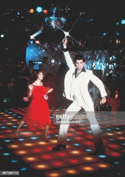 American actor John Travolta on the set of Saturday Night Fever directed by John Badham