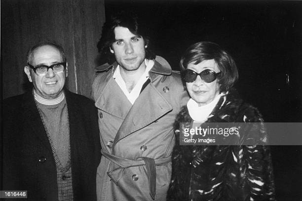 American actor John Travolta poses with his father Salvatore Travolta and his mother Helen Travolta c 1976