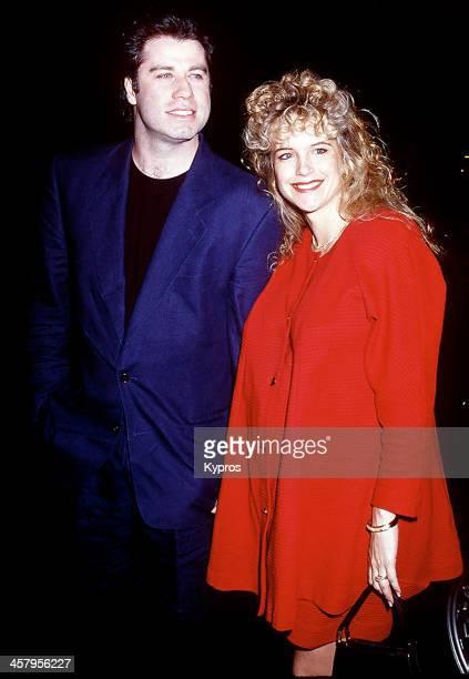 American actor John Travolta with his pregnant wife actress Kelly Preston circa 1992