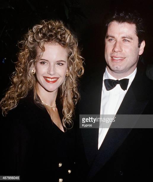 American actor John Travolta with his wife actress Kelly Preston circa 1992