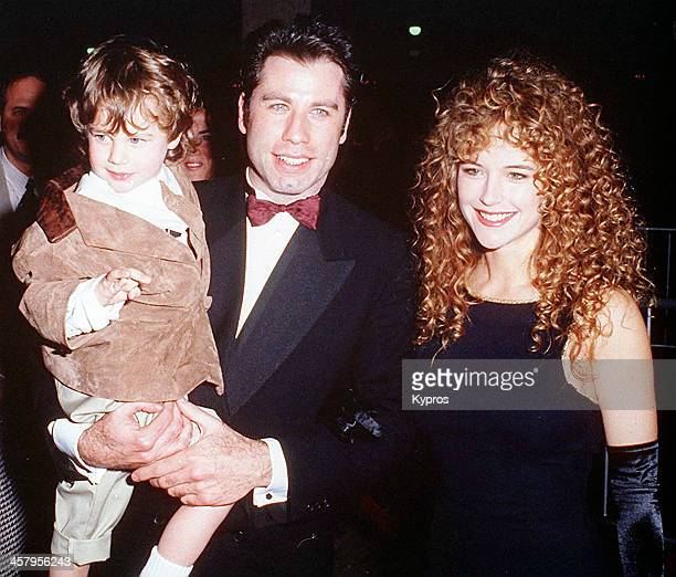 American actor John Travolta with his wife actress Kelly Preston circa 1993