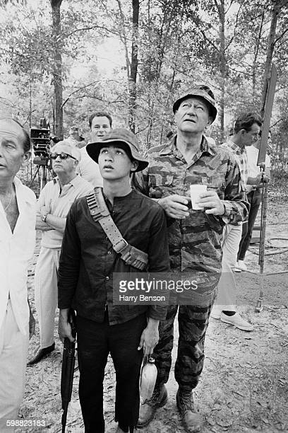 American actor John Wayne during location filming for the Vietnam War movie 'The Green Berets' 20th October 1967