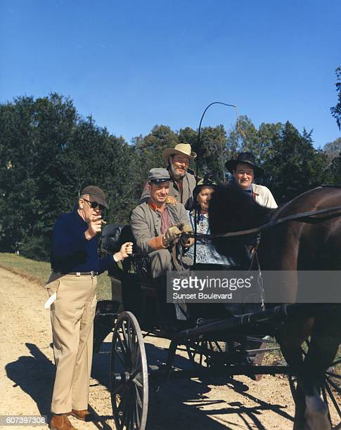 American actor John Wayne with director John Ford on the set of his movie The Horse Soldiers