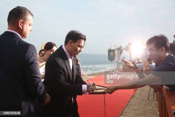 American actor Johnny Depp arrives at the red carpet during the closing ceremony of 1st Hainan International Film Festival on December 16 2018 in...