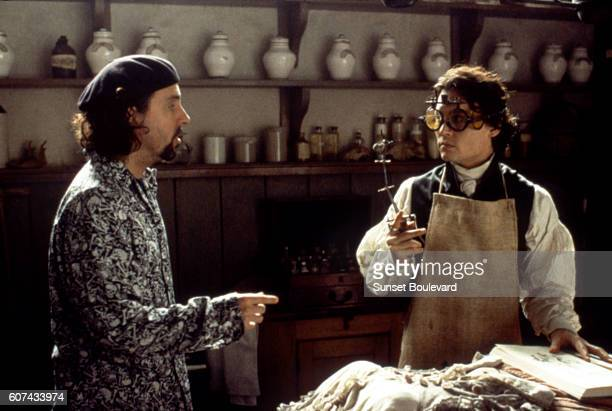 American actor Johnny Depp with director Tim Burton on the set of his movie Sleepy Hollow based on the story by Washington Irving