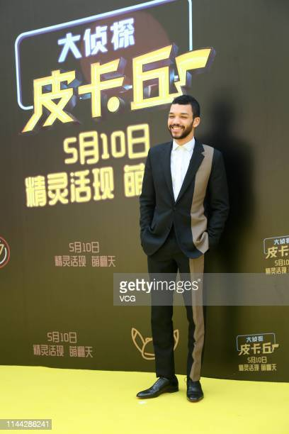 American actor Justice Smith attends a press conference of film 'Detective Pikachu' on April 21 2019 in Beijing China