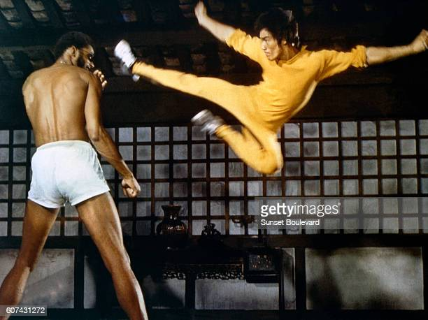 American actor Kareem AbdulJabbar and Chinese American martial artist and actor Bruce Lee on the set of Game of Death written and directed by Robert...