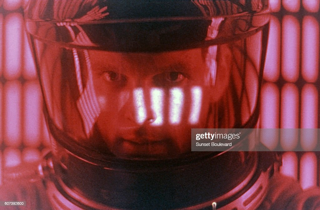 American actor Keir Dullea on the set of 2001: A Space Odyssey, written and directed by Stanley Kubrick.