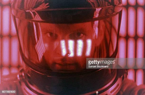 American actor Keir Dullea on the set of 2001 A Space Odyssey written and directed by Stanley Kubrick