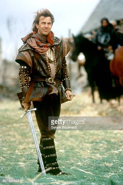 American actor Kevin Costner on the set of Robin Hood Prince of Thieves directed by Kevin Reynolds