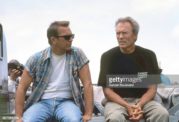 American actor Kevin Costner with actor director and producer Clint Eastwood on the set his movie A Perfect World