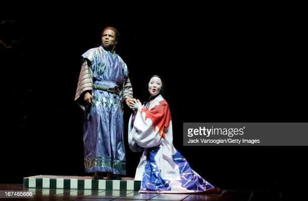 American actor Kevin Kenerly and Japanese actress Ako during a performance of the Ping Chong-directed production of 'Throne of Blood' at the 2010...