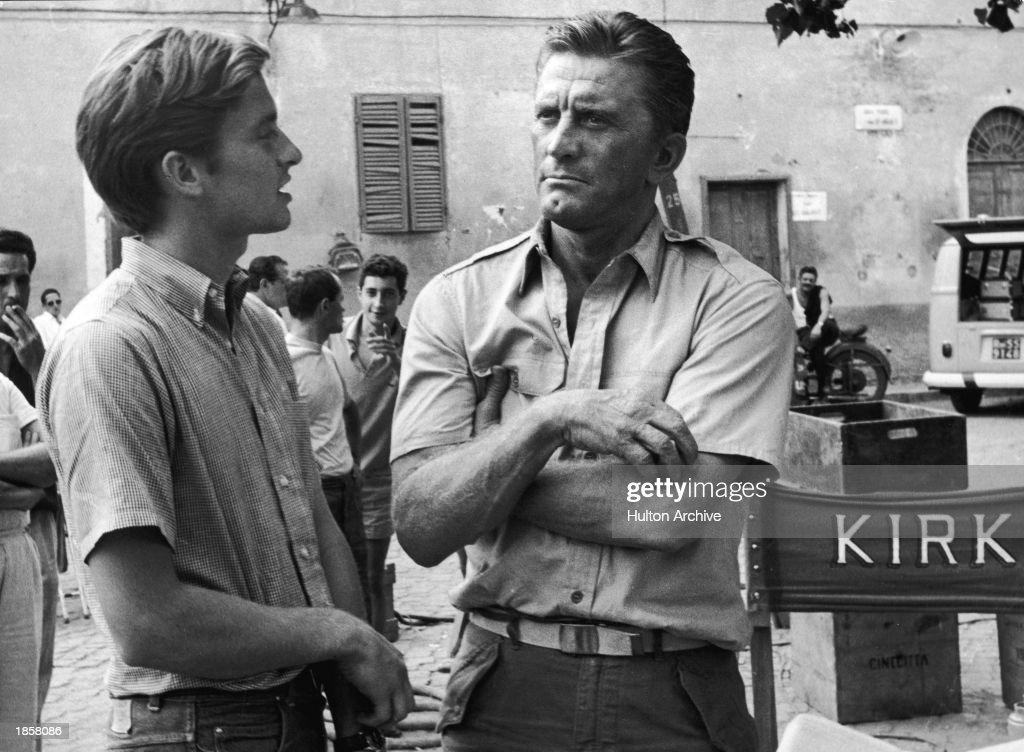 Michael & Kirk Douglas 'Cast a Giant Shadow' : News Photo